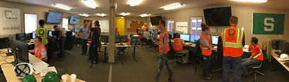 [panoramic photo of FRIB temporary control room]