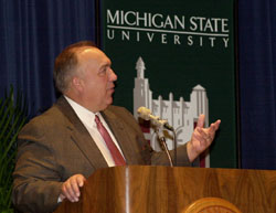 Governor Engler at the Dedication of the NSCL CCF
