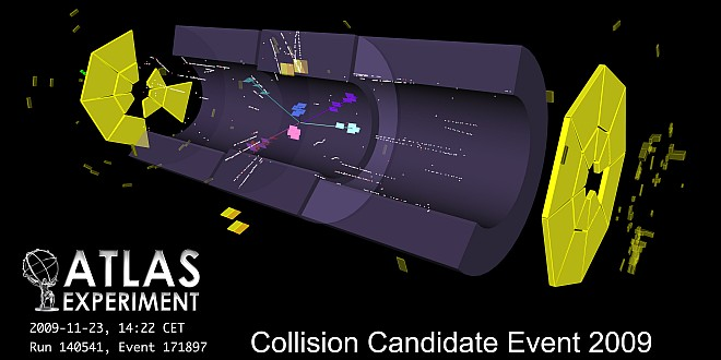 ATLAS detector at CERN LHC sees its first hadronic collision