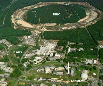 Aerial View of Brookhaven National Laboratory on Long Island shows the lab site with the MP tandem Van de Graff injector, the Alternating Gradient Synchrotron (AGS), and the RHIC ring photo