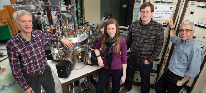 Prof. Birge's research team: (L to R) Norman Birge, Bethany Niedzielski, Joseph Glick, and Reza Loloee