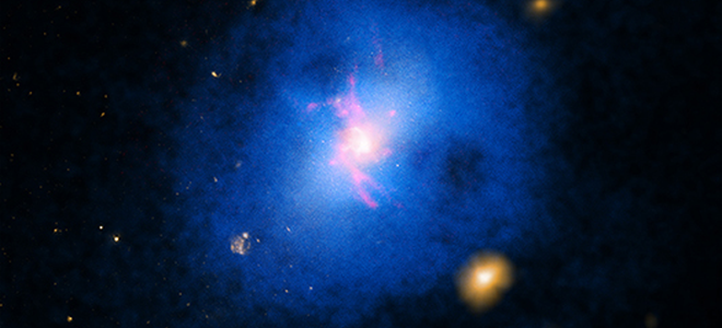 Composite image Abell 2597 galaxy cluster - visible, H-Alpha, Chandra X-ray
