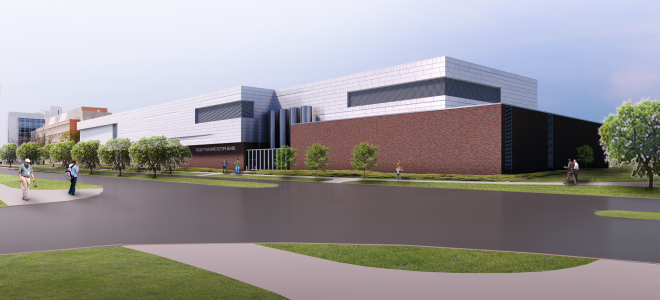 Artist's rendering of completed FRIB facility as seen from the corner of Wilson Road and Bogue Street