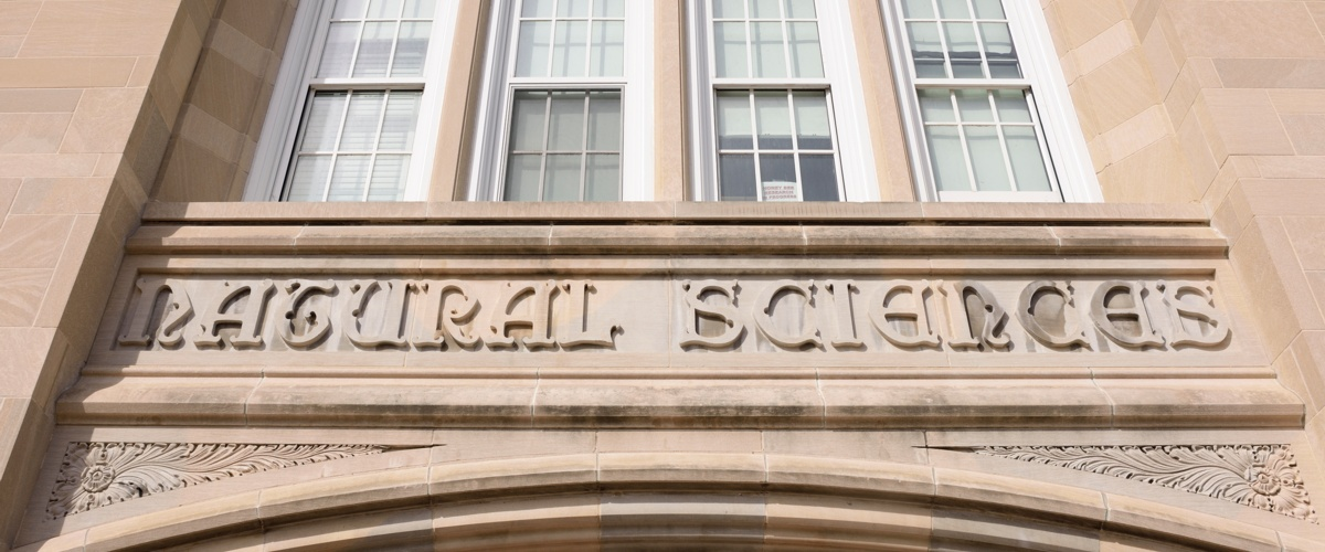 [photo of sign over NatSci Building entrance]