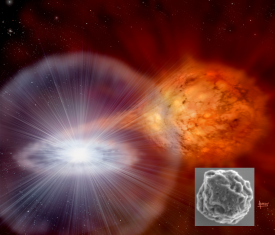 [artist rendition of nova with inset image of microscopic dust particle]